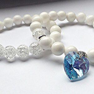 Комплект браслетов из белого агата и сахарного кварца с подвеской Сердечко