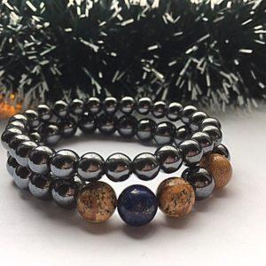 Мужской комплект браслетов из гематита, яшмы и лазурита