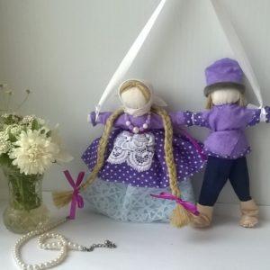 Свадебная кукла Неразлучники фиолетовая